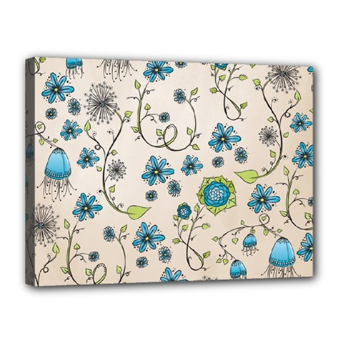 Whimsical Flowers Blue Canvas 16  x 12  (Framed)