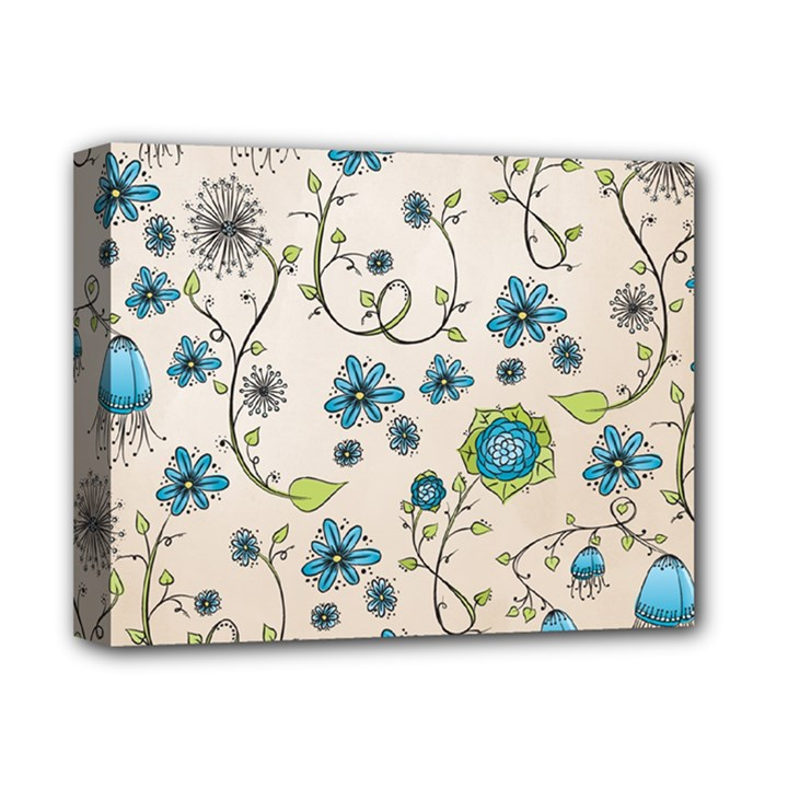 Whimsical Flowers Blue Deluxe Canvas 14  x 11  (Framed)