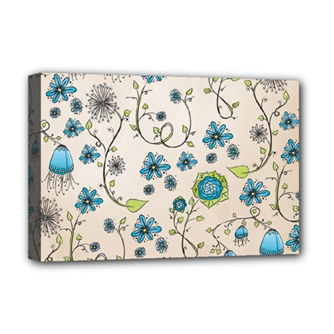 Whimsical Flowers Blue Deluxe Canvas 18  x 12  (Framed)