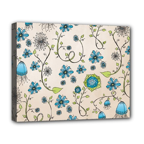 Whimsical Flowers Blue Deluxe Canvas 20  x 16  (Framed)