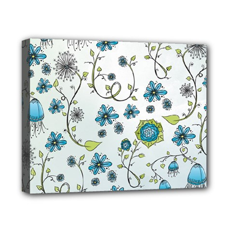 Blue Whimsical Flowers  on blue Canvas 10  x 8  (Framed)