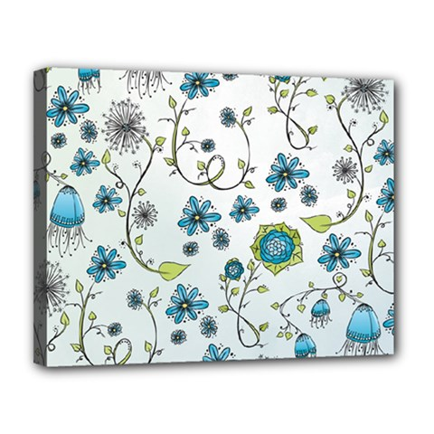 Blue Whimsical Flowers  On Blue Canvas 14  X 11  (framed)