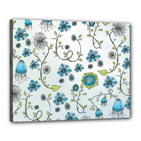 Blue Whimsical Flowers  on blue Canvas 20  x 16  (Framed)