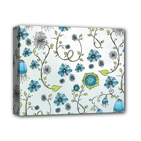 Blue Whimsical Flowers  on blue Deluxe Canvas 14  x 11  (Framed)
