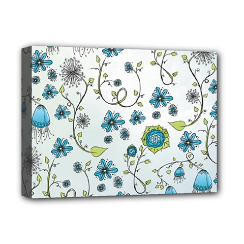 Blue Whimsical Flowers  On Blue Deluxe Canvas 16  X 12  (framed)
