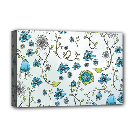 Blue Whimsical Flowers  on blue Deluxe Canvas 18  x 12  (Framed)