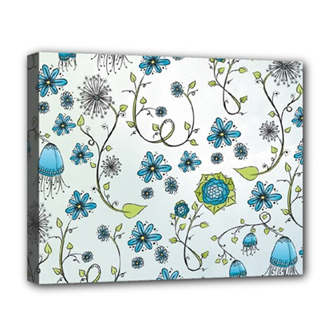 Blue Whimsical Flowers  On Blue Deluxe Canvas 20  X 16  (framed)