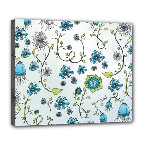 Blue Whimsical Flowers  on blue Deluxe Canvas 24  x 20  (Framed)