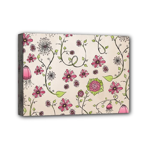 Pink Whimsical Flowers On Beige Mini Canvas 7  X 5  (framed)