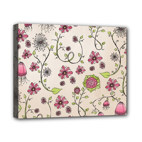 Pink Whimsical flowers on beige Canvas 10  x 8  (Framed)