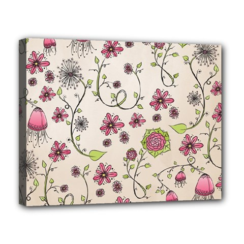 Pink Whimsical flowers on beige Canvas 14  x 11  (Framed)