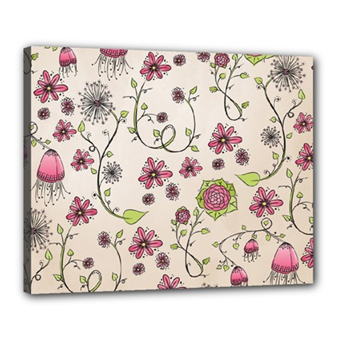 Pink Whimsical Flowers On Beige Canvas 20  X 16  (framed)