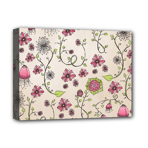 Pink Whimsical flowers on beige Deluxe Canvas 16  x 12  (Framed)