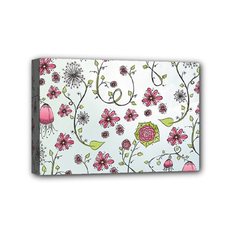 Pink whimsical flowers on blue Mini Canvas 6  x 4  (Framed)