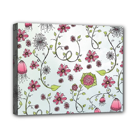 Pink Whimsical Flowers On Blue Canvas 10  X 8  (framed)