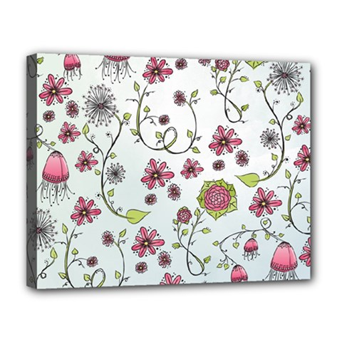 Pink whimsical flowers on blue Canvas 14  x 11  (Framed)