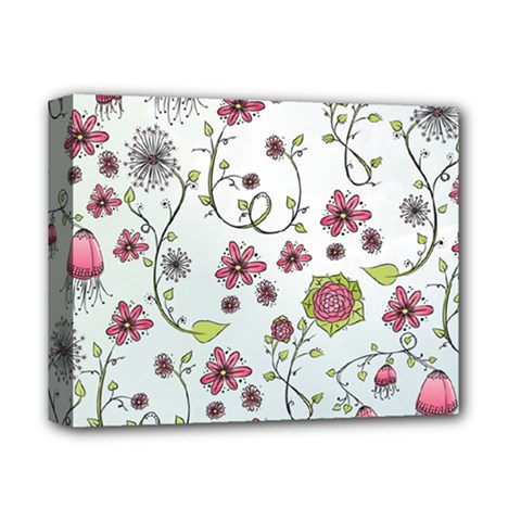 Pink whimsical flowers on blue Deluxe Canvas 14  x 11  (Framed)