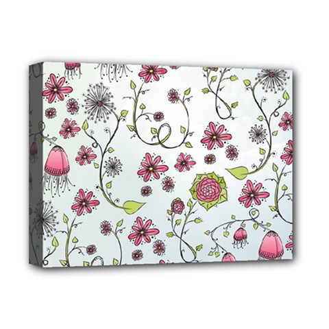 Pink whimsical flowers on blue Deluxe Canvas 16  x 12  (Framed)