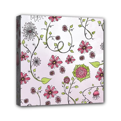Pink whimsical flowers on pink Mini Canvas 6  x 6  (Framed)