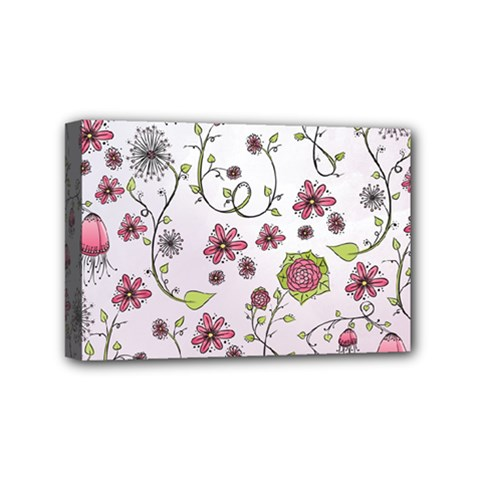 Pink whimsical flowers on pink Mini Canvas 6  x 4  (Framed)