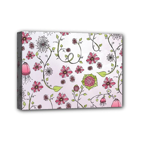 Pink whimsical flowers on pink Mini Canvas 7  x 5  (Framed)