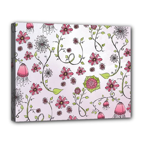 Pink whimsical flowers on pink Canvas 14  x 11  (Framed)
