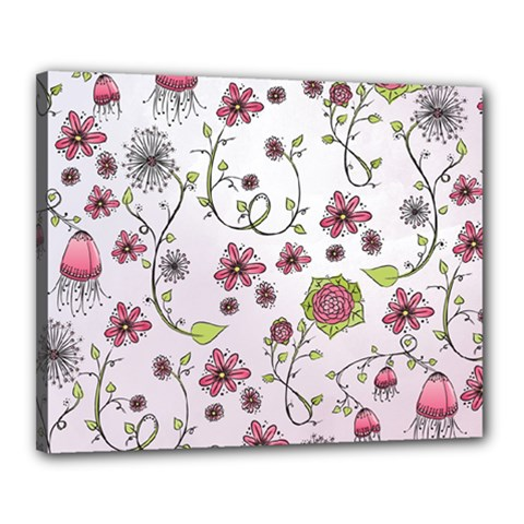 Pink whimsical flowers on pink Canvas 20  x 16  (Framed)