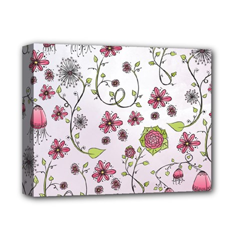 Pink whimsical flowers on pink Deluxe Canvas 14  x 11  (Framed)