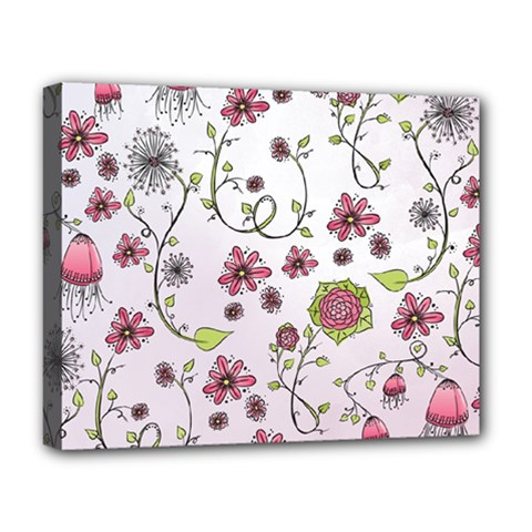 Pink Whimsical Flowers On Pink Deluxe Canvas 20  X 16  (framed)