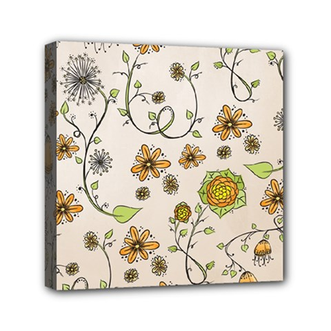 Yellow Whimsical Flowers  Mini Canvas 6  x 6  (Framed)