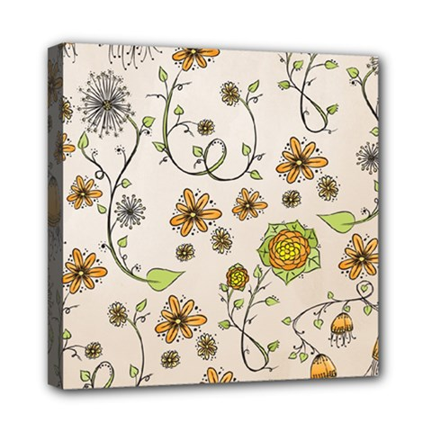 Yellow Whimsical Flowers  Mini Canvas 8  x 8  (Framed)