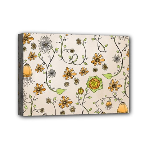 Yellow Whimsical Flowers  Mini Canvas 7  x 5  (Framed)