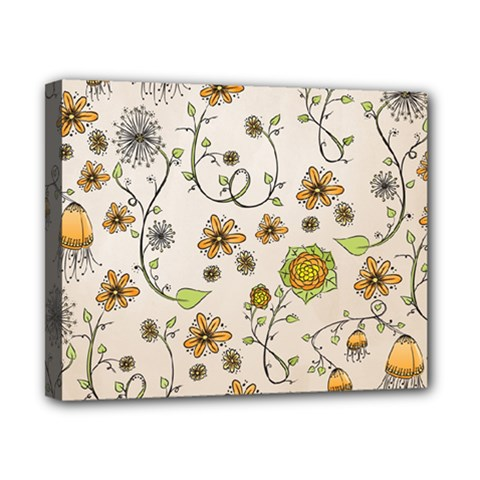 Yellow Whimsical Flowers  Canvas 10  x 8  (Framed)