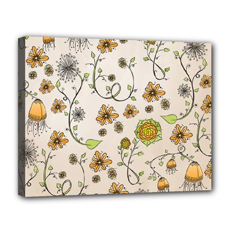 Yellow Whimsical Flowers  Canvas 14  x 11  (Framed)