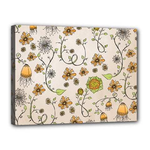 Yellow Whimsical Flowers  Canvas 16  x 12  (Framed)