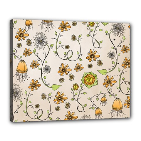 Yellow Whimsical Flowers  Canvas 20  x 16  (Framed)