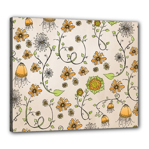 Yellow Whimsical Flowers  Canvas 24  x 20  (Framed)