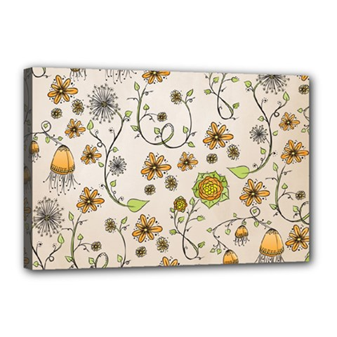 Yellow Whimsical Flowers  Canvas 18  x 12  (Framed)