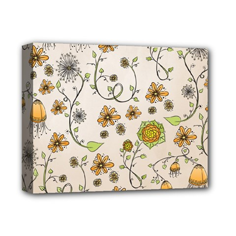 Yellow Whimsical Flowers  Deluxe Canvas 14  X 11  (framed)