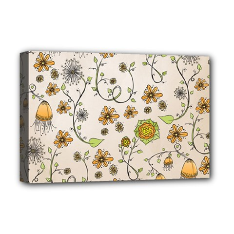 Yellow Whimsical Flowers  Deluxe Canvas 18  X 12  (framed)