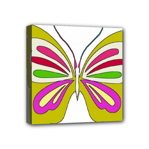 Color Butterfly  Mini Canvas 4  x 4  (Framed)