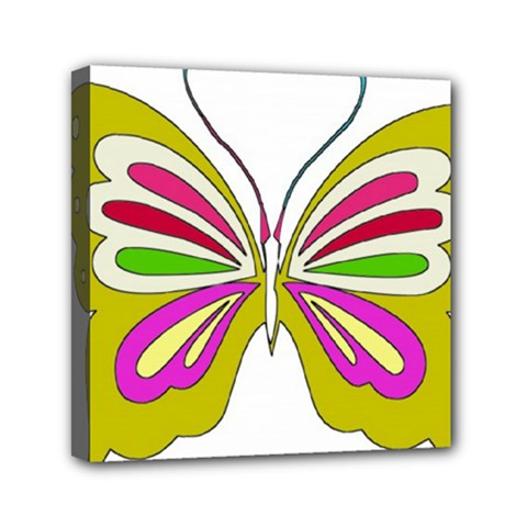 Color Butterfly  Mini Canvas 6  X 6  (framed)