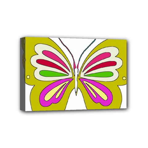 Color Butterfly  Mini Canvas 6  X 4  (framed)