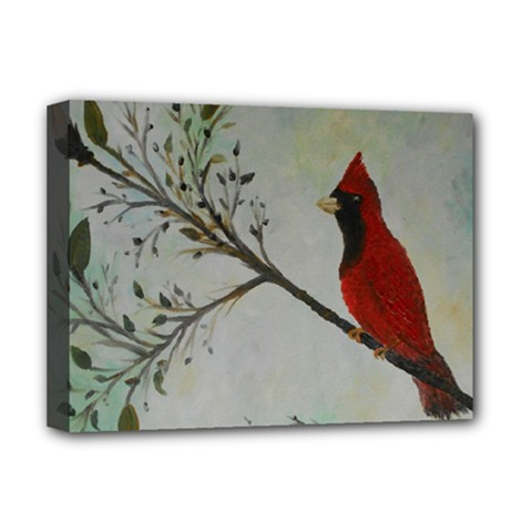 Sweet Red Cardinal Deluxe Canvas 16  X 12  (framed)