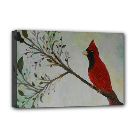 Sweet Red Cardinal Deluxe Canvas 18  x 12  (Framed)