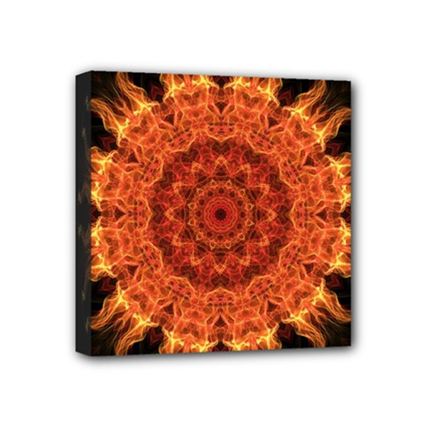 Flaming Sun Mini Canvas 4  x 4  (Framed)