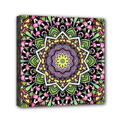 Psychedelic Leaves Mandala Mini Canvas 6  X 6  (framed)