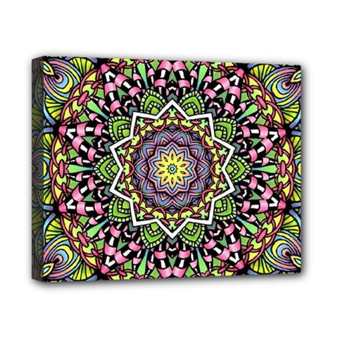 Psychedelic Leaves Mandala Canvas 10  x 8  (Framed)