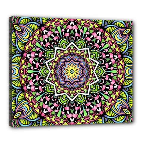 Psychedelic Leaves Mandala Canvas 24  x 20  (Framed)
