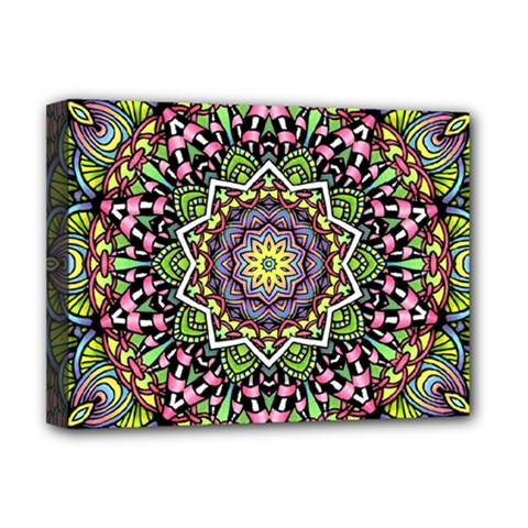 Psychedelic Leaves Mandala Deluxe Canvas 16  X 12  (framed)